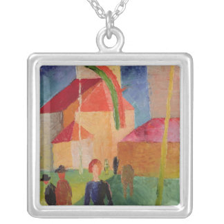 Kyrka som dekoreras med flaggor silverpläterat halsband