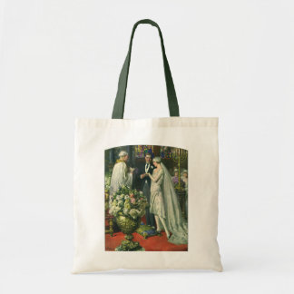 Kyrklig bröllopceremoni för vintage; Brud och Budget Tygkasse