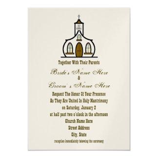 Kyrklig bröllopinbjudan - samman med föräldrar 12,7 x 17,8 cm inbjudningskort