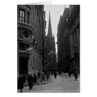 Kyrkligt tidigt 1900skort för wall street & för Tr Kort