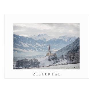 Kyrktaga i Zillertal i vykort för vintervittext