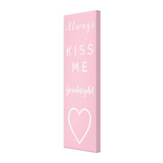 Kyssa alltid mig goodnight rosa gullig typografi canvastryck