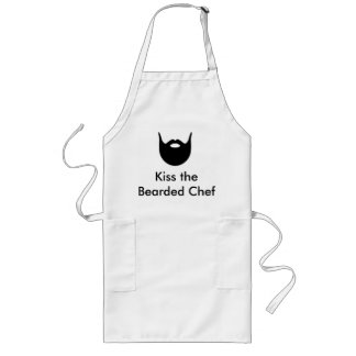 Kyssa den skäggiga kocken - vitförkläde långt förkläde