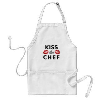 Kyssa kocken med röd läppar, ordkonst, textdesign förkläde