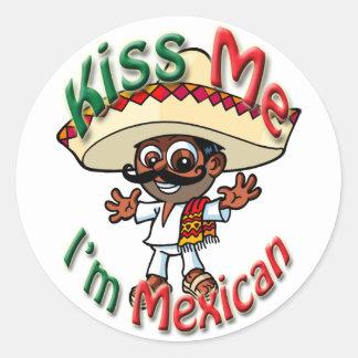 Kyssa mig mexicanska klistermärkear för runt klistermärke