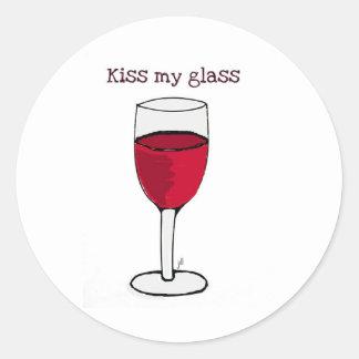 KYSSA MITT GLASS… VINTRYCK av jill Runt Klistermärke