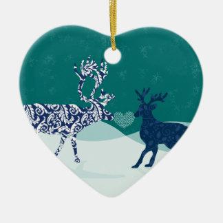 Kyssande renprydnad hjärtformad julgransprydnad i keramik