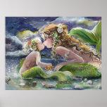 Kyssande sjöjungfru- och babyaffisch