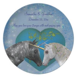 Kyssande Unicorns som gifta sig minnessaken, pläte Tallrik