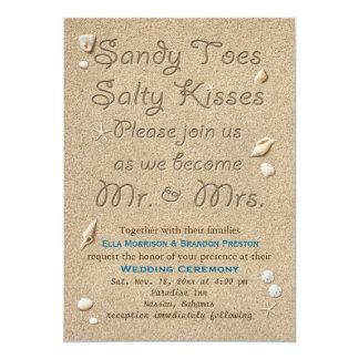 Kyssar för sandiga Toes för strand som salt gifta 12,7 X 17,8 Cm Inbjudningskort