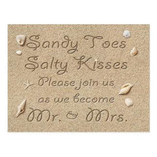 Kyssar för sandiga Toes för strand sparar salt Vykort