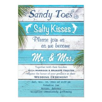 Kyssar för sandiga Toes för turkos som salt gifta 12,7 X 17,8 Cm Inbjudningskort