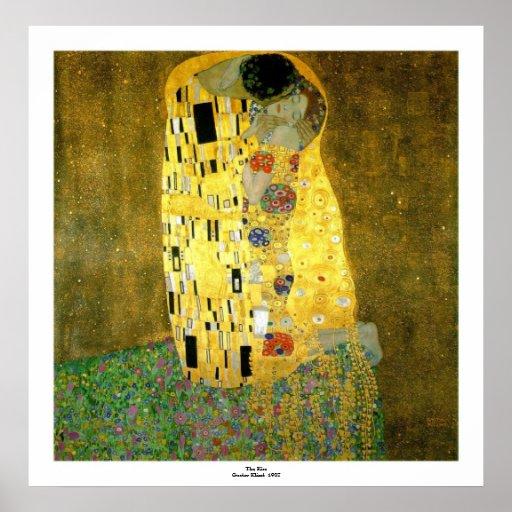 Kyssen av Gustav Klimt Affisch