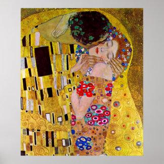 Kyssen av Gustav Klimt, vintageart nouveau Poster