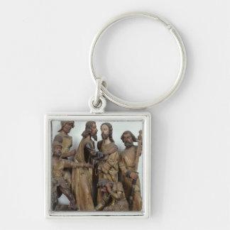 Kyssen av Judas, från Antwerp Fyrkantig Silverfärgad Nyckelring