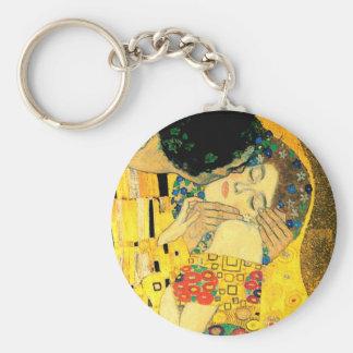 Kyssen vid den Gustav Klimt art nouveau Rund Nyckelring