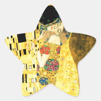 Kyssen vid den Gustav Klimt art nouveau Stjärnformat Klistermärke