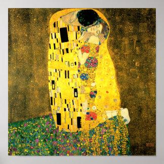 Kyssen vid trycket för Gustav Klimt konstaffisch Poster