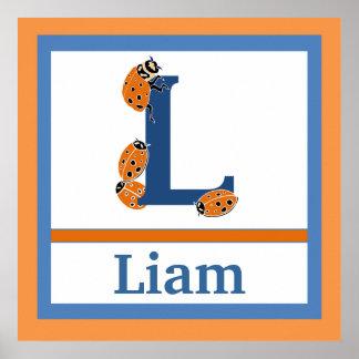 L är för för väggkonst för nyckelpiga och för pojk poster