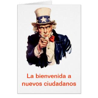 La bienvenida nuevosciudadanos hälsningskort