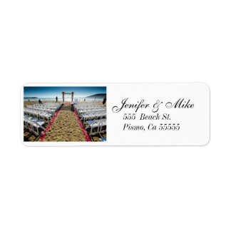 lables för strandbröllopadress returadress etikett