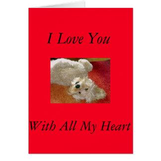 Labradoodle älskar jag dig kortet hälsningskort