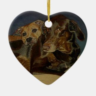 Labrador/Dobermanblandning & Pitbull prydnad Julgransprydnad Keramik