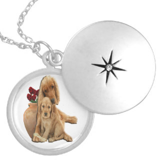 Labrador och valpar silverpläterat halsband
