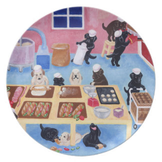 Labradors bagerimålning tallrik