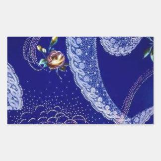 Lacey blåttFractals Rektangulärt Klistermärke