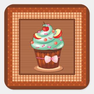 Läcker muffinklistermärke fyrkantigt klistermärke