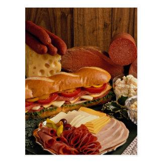 Läcker ubåtsmörgås med kött och ost vykort