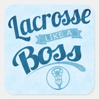 lacrossenågot liknande en chef fyrkantigt klistermärke