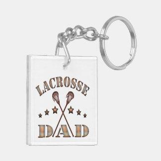 LacrossepappaSteampunk stil Fyrkantigt Dubbelsidigt Nyckelring I Akryl