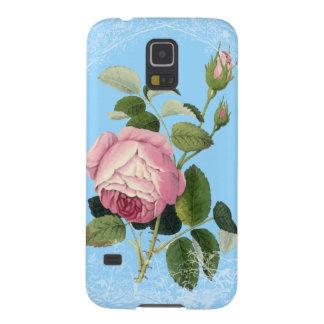 Lacy blom- chinablått för gammalmodig rosa ros galaxy s5 fodral