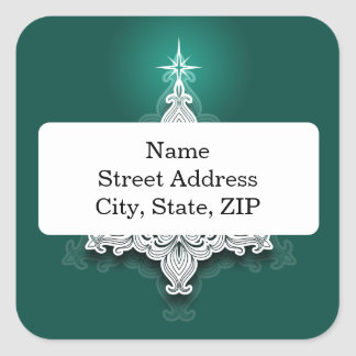 Lacy julgranpersonligklistermärke fyrkantigt klistermärke