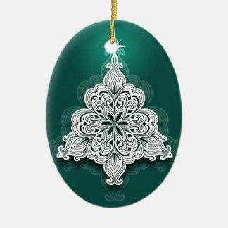 Lacy julgranprydnad ovalformad julgransprydnad i keramik