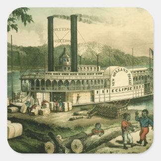 Ladda bomull på Mississippi, 1870 Fyrkantigt Klistermärke