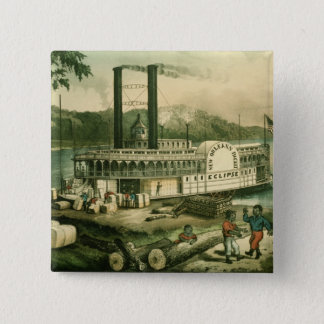 Ladda bomull på Mississippi, 1870 Standard Kanpp Fyrkantig 5.1 Cm