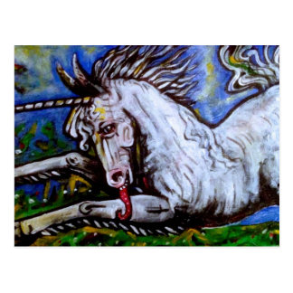 Laddande Unicorn. Vykort