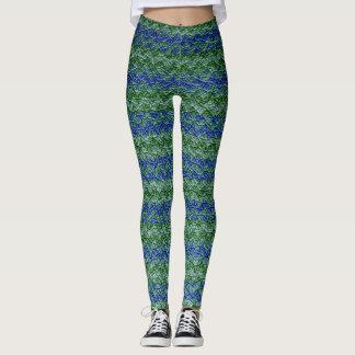 Läder för grön sparre för blått modernt leggings