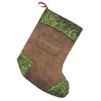 Läder för Monogram för Fauxgröntbrunt Liten Julstrumpa
