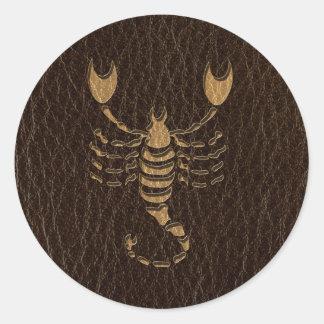 Läder-Look Scorpio Runt Klistermärke