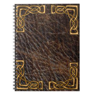 Läder och guld- celtic anteckningsbok