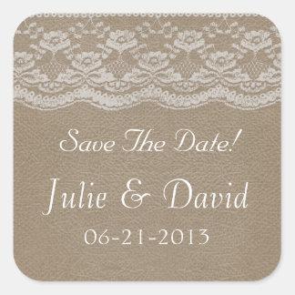 Läder- & snörebröllop spara datum fyrkantigt klistermärke