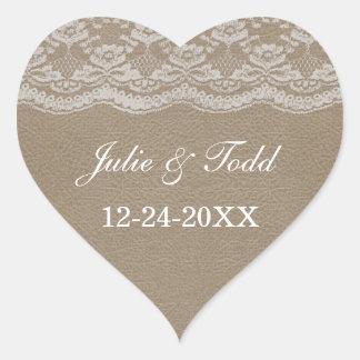 Läder- & snörebröllop spara datum hjärtformat klistermärke