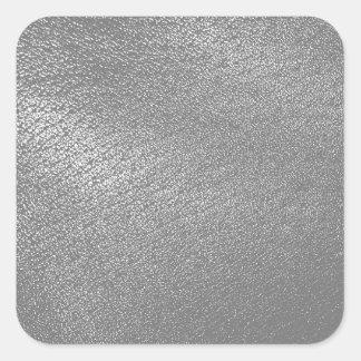 LäderLook för grått (Faux) Fyrkantigt Klistermärke