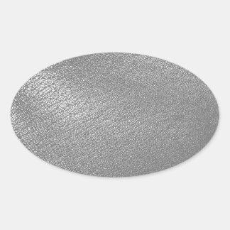 LäderLook för grått (Faux) Ovalt Klistermärke