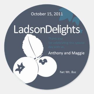 Ladson fröjd syltburkEtikett-Bluberry Runda Klistermärken