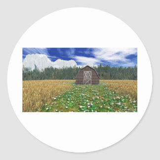 Ladugård i vetefält runt klistermärke